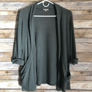 Silence + Noise UO Green Open Front Cardigan Top